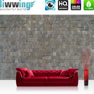 liwwing Vlies Fototapete 200x140 cm PREMIUM PLUS Wand Foto Tapete Wand Bild Vliestapete - Steinwand Tapete Steinmauer Steinwand Steinoptik grau - no. 696