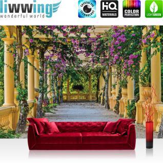 liwwing Vlies Fototapete 312x219cm PREMIUM PLUS Wand Foto Tapete Wand Bild Vliestapete - Architektur Tapete Säulengang Garten mediterran Flieder natural - no. 3531