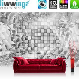 liwwing Vlies Fototapete 300x210 cm PREMIUM PLUS Wand Foto Tapete Wand Bild Vliestapete - 3D Tapete Abstrakt Dreieck Quadrat Würfel Schwung Schnörkel Design Kugeln 3D Optik grau - no. 882