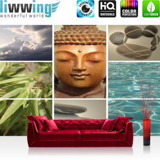 liwwing Vlies Fototapete 312x219cm PREMIUM PLUS Wand Foto Tapete Wand Bild Vliestapete - Wellness Tapete Buddha Steine Bambusblätter Wasser Wolken weiß - no. 2098