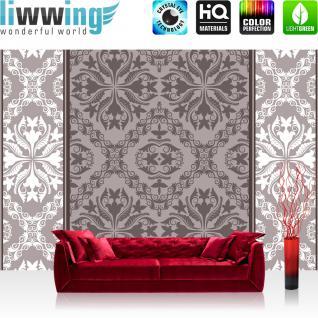liwwing Vlies Fototapete 416x254cm PREMIUM PLUS Wand Foto Tapete Wand Bild Vliestapete - Ornamente Tapete Blume Abstrakt braun - no. 1242