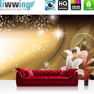 liwwing Vlies Fototapete 350x245 cm PREMIUM PLUS Wand Foto Tapete Wand Bild Vliestapete - Ornamente Tapete Abstrakt Blumen Blüte Geflecht Netz Schwung Schnörkel Sterne Diamant gelb - no. 891