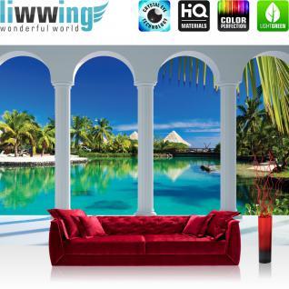 liwwing Vlies Fototapete 312x219cm PREMIUM PLUS Wand Foto Tapete Wand Bild Vliestapete - Wasser Tapete Palmen Wasser Himmel Bogen Karibik blau - no. 1632