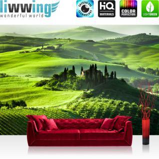 liwwing Vlies Fototapete 350x245 cm PREMIUM PLUS Wand Foto Tapete Wand Bild Vliestapete - SUNRISE IN TUSCANY - Sonnenaufgang Italien Toskana Weinberg Weingut - no. 068
