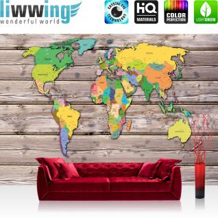 liwwing Vlies Fototapete 312x219cm PREMIUM PLUS Wand Foto Tapete Wand Bild Vliestapete - Welt Tapete Weltkarte politisch Holzwand bunt - no. 3522