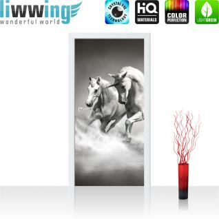liwwing Vlies Türtapete 91x211 cm PREMIUM PLUS Tür Fototapete Türposter Türpanel Foto Tapete Bild - Einhörner Wasser - no. 1016