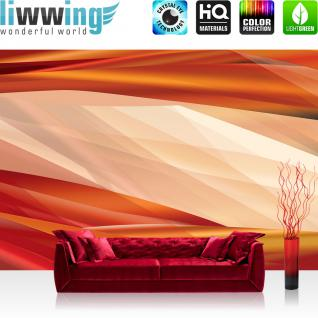 liwwing Vlies Fototapete 152.5x104cm PREMIUM PLUS Wand Foto Tapete Wand Bild Vliestapete - Kunst Tapete Abstrakt Design Streifen Linien Moderne orange - no. 2826