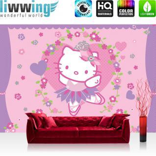 liwwing Fototapete 368x254 cm PREMIUM Wand Foto Tapete Wand Bild Papiertapete - Mädchen Tapete Hello Kitty - Kindertapete Cartoon Katze Blumen Herzen Kinder lila - no. 1020