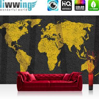 liwwing Vlies Fototapete 312x219cm PREMIUM PLUS Wand Foto Tapete Wand Bild Vliestapete - Welt Tapete Weltkarte Asphalt Graffiti Beton gelb - no. 3169