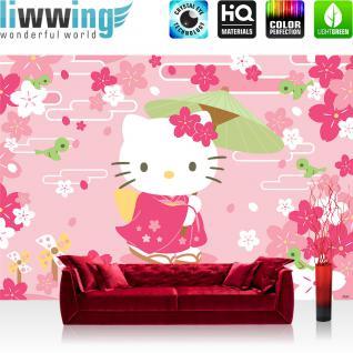 liwwing Vlies Fototapete 300x210 cm PREMIUM PLUS Wand Foto Tapete Wand Bild Vliestapete - Mädchen Tapete Hello Kitty - Kindertapete Cartoon Katze Blumen Vögel Kinder rosa - no. 1022