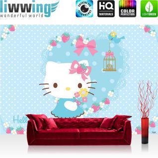 liwwing Fototapete 254x168 cm PREMIUM Wand Foto Tapete Wand Bild Papiertapete - Mädchen Tapete Hello Kitty - Kindertapete Cartoon Katze Vogel Blumen Kinder blau - no. 1029