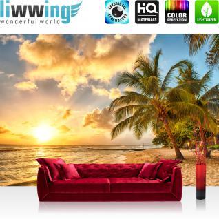 liwwing Vlies Fototapete 350x245 cm PREMIUM PLUS Wand Foto Tapete Wand Bild Vliestapete - DREAM BEACH - Strand Meer Sonnenaufgang Beach Wasser Blau Himmel Sonne Sommer - no. 042