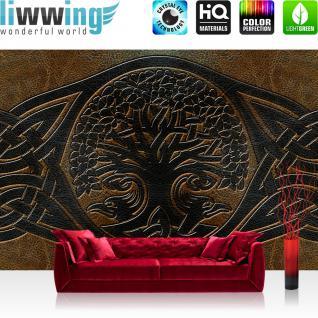 liwwing Vlies Fototapete 312x219cm PREMIUM PLUS Wand Foto Tapete Wand Bild Vliestapete - Illustrationen Tapete Baum des Lebens Abstrakt Lederoptik Leder Tattoo braun - no. 1383
