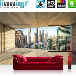 liwwing Vlies Fototapete 208x146cm PREMIUM PLUS Wand Foto Tapete Wand Bild Vliestapete - Architektur Tapete Terrasse Balkon Fenster Holzwand Skyline Hafen Ausblick braun - no. 1404