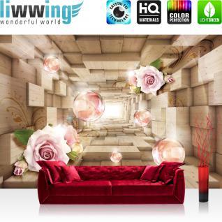 liwwing Vlies Fototapete 312x219cm PREMIUM PLUS Wand Foto Tapete Wand Bild Vliestapete - 3D Tapete Tunnel Würfel Rechtecke Holz Rosen Blume 3D Optik beige - no. 2918