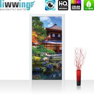 liwwing Türtapete selbstklebend 91x211 cm PREMIUM PLUS Tür Fototapete Türposter Türpanel Foto Tapete Bild - Japan Tempel Haus Eden - no. 1098