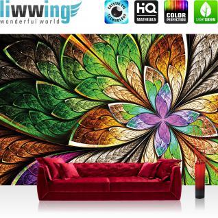 liwwing Vlies Fototapete 312x219cm PREMIUM PLUS Wand Foto Tapete Wand Bild Vliestapete - Kunst Tapete Design Schnürkel Diamanten Glitzer Blumen Blätter lila - no. 3053