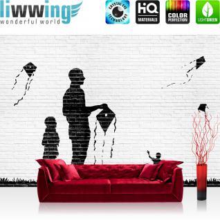 liwwing Vlies Fototapete 208x146cm PREMIUM PLUS Wand Foto Tapete Wand Bild Vliestapete - Steinwand Tapete Steine Steinoptik Drachen Familie Gemälde schwarz weiß - no. 2633