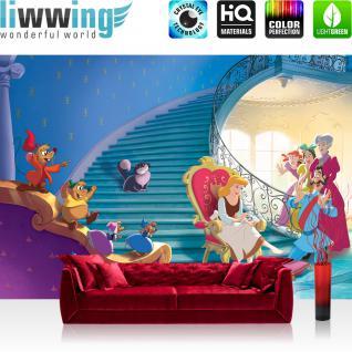 liwwing Vlies Fototapete 416x254cm PREMIUM PLUS Wand Foto Tapete Wand Bild Vliestapete - Disney Tapete Aschenputtel Cinderella Cinderella Kindertapete Disney Katze Maus blau - no. 2125