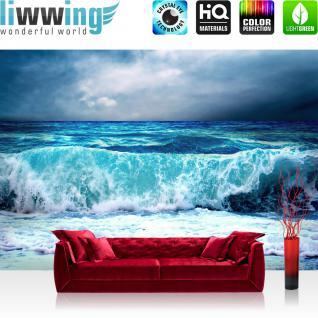liwwing Vlies Fototapete 350x245 cm PREMIUM PLUS Wand Foto Tapete Wand Bild Vliestapete - BLUE SEASCAPE - Ozean Meer Wasser See Welle Sturm Blau Türkis - no. 100
