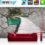 liwwing Vlies Fototapete 416x254cm PREMIUM PLUS Wand Foto Tapete Wand Bild Vliestapete - Wasser Tapete Steg Meer Natur Steinwand Paradies blau - no. 3013