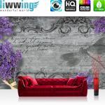 liwwing Fototapete 254x168 cm PREMIUM Wand Foto Tapete Wand Bild Papiertapete - Holz Tapete Lavendel Schriftkunst Ornamente Holzwand grau - no. 3101