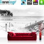 liwwing Vlies Fototapete 208x146cm PREMIUM PLUS Wand Foto Tapete Wand Bild Vliestapete - Strand Tapete Wasser Meer Weg schwarz weiß - no. 1849
