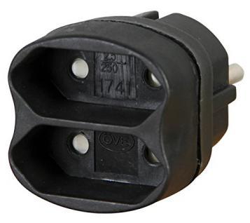 Kopp Euro Adapter 2-fach, 1 Stück, schwarz, 174105004