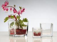 Glasvase CUBE Glasvase Teelichtglas Windlicht Vase Glas Würfel, Ø 10 cm