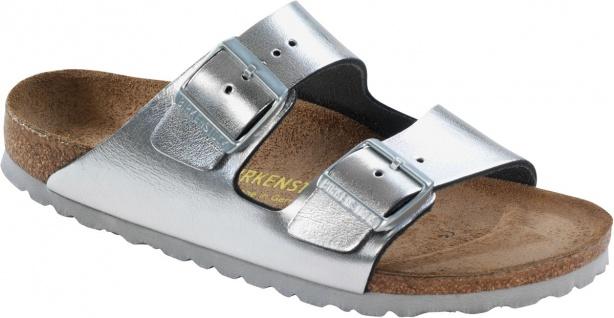 Birkenstock Pantolette Arizona Leder metallic silver Gr. 35 - 46 - 652443