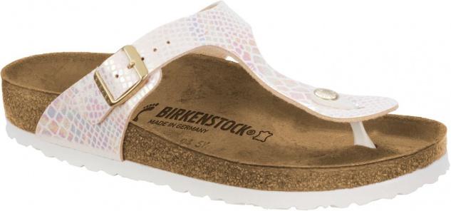 Birkenstock Zehensteg Sandale Gizeh BF Shiny Snake Cream, Gr. 35 - 43 - 847431