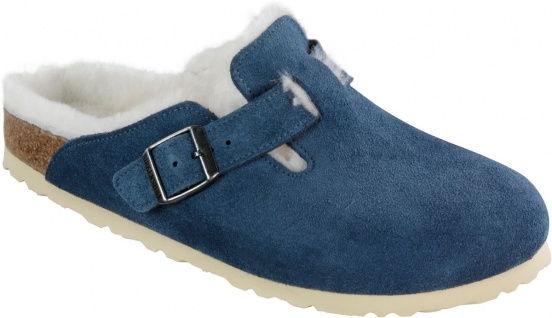 Birkenstock Clog Boston Leder/Fell blau Gr. 35 - 46 259073