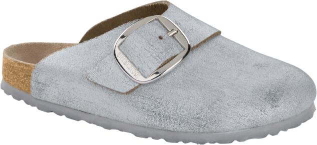 Birkenstock Clog Basel Big Buckle washed metallic blue silver 1012892