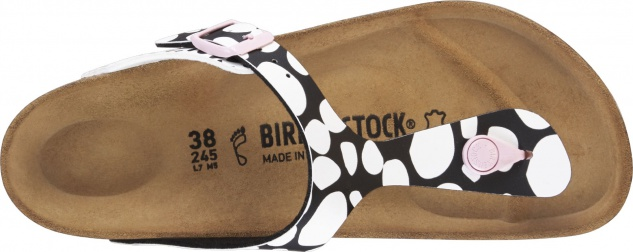 BIRKENSTOCK Zehensteg Gizeh twotone dots black/white 1013602