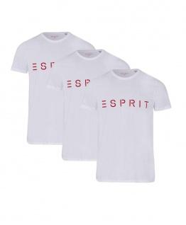 3er Pack ESPRIT T-Shirt Basic weiß mit rotem Schriftzug