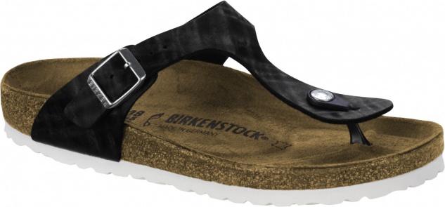 Birkenstock Gizeh Zehensteg Sandale shiny check black BF Gr. 35 - 43 - 1005348