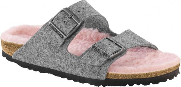 Birkenstock Pantolette Arizona WZ grey happy lamb rose Gr. 35 - 43 - 1002099