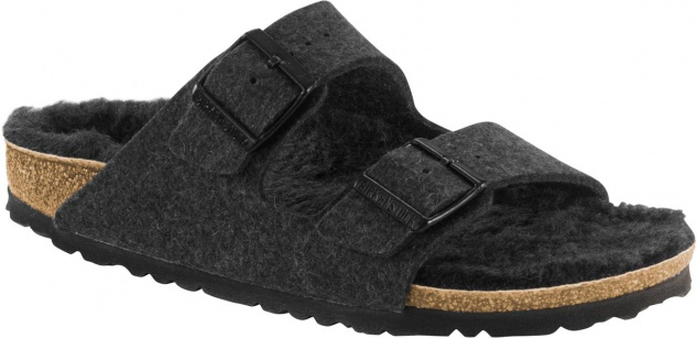 Birkenstock Pantolette Arizona WZ anthracite happy lamb black Gr. 35 - 46 - 1001889