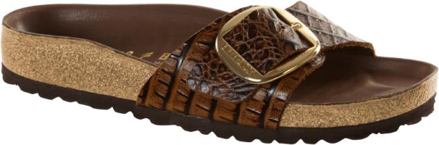 Birkenstock Pantolette madrid big buckle gator brown 1010768