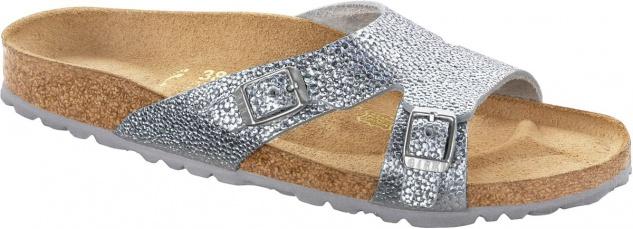 Birkenstock Shakina pebbles metallic silver Nubukleder - 029403