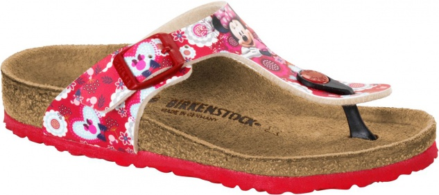 Birkenstock Sandale Zehentrenner minnie flowers red 1006029