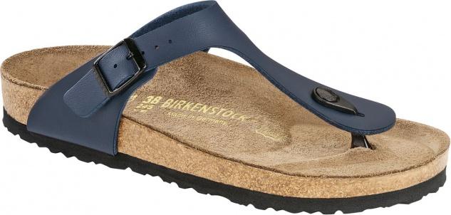 BIRKENSTOCK Zehensteg Sandale Gizeh blau Birko-Flor Gr. 35 - 46 143621 + 143623