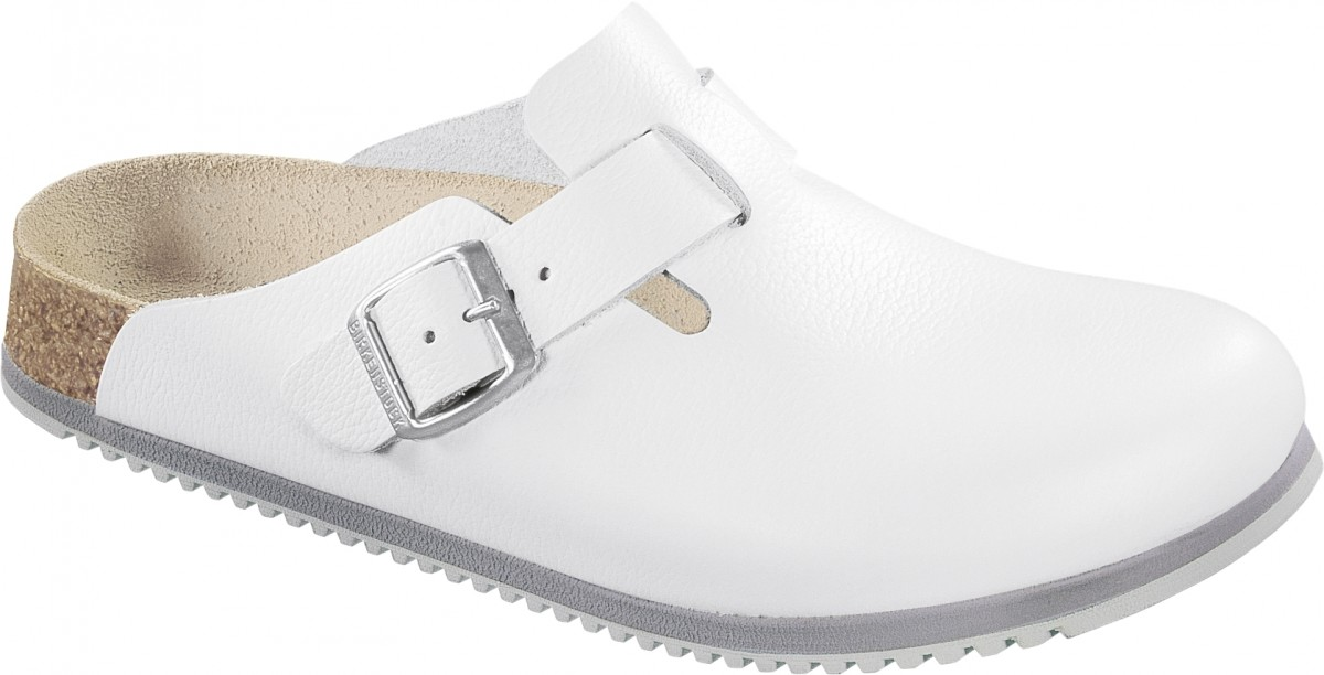 Birkenstock Original Boston ESD Leder Schmal, White, 061378 40,0