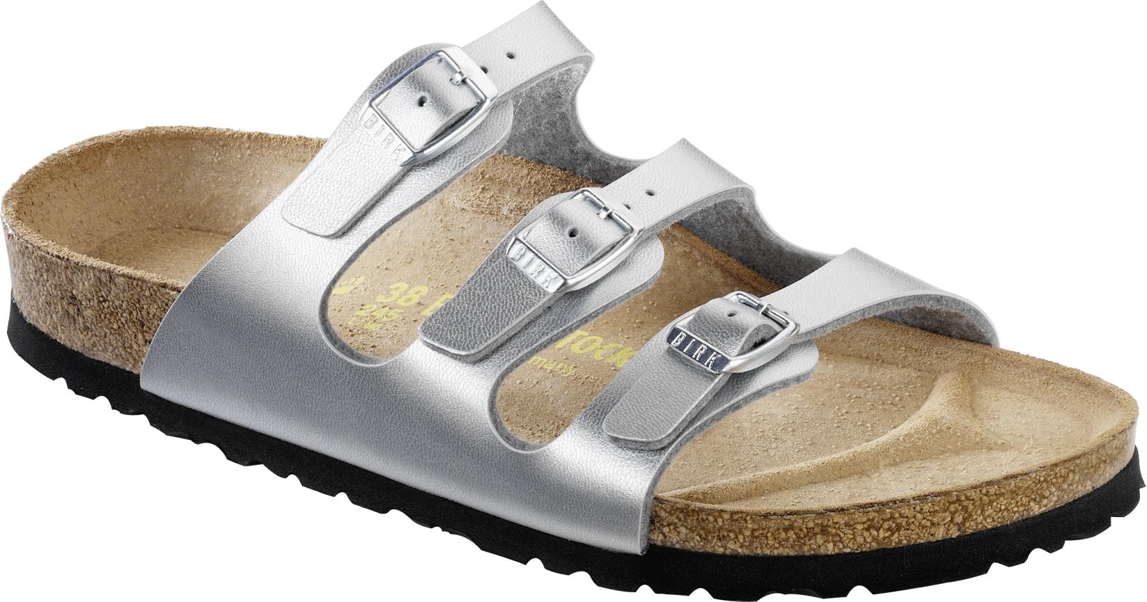 Birkenstock Florida Birko Flor Schuhe silver 954381 Damen Sandalen Weite normal | eBay
