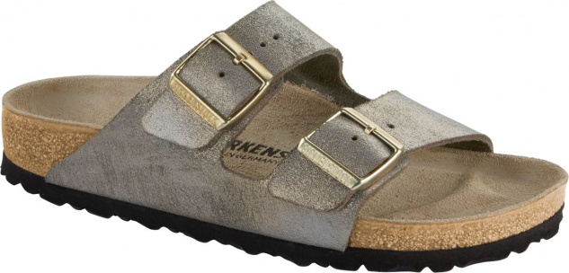 Birkenstock Pantolette Arizona washed metallic stone gold 1014373