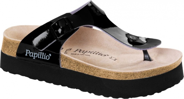 Papillio Zehensteg Sandale Gizeh BF two tone patent black plattform - 1007092