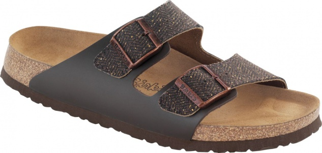 Birkis Pantolette arizona herringbone brown 026253