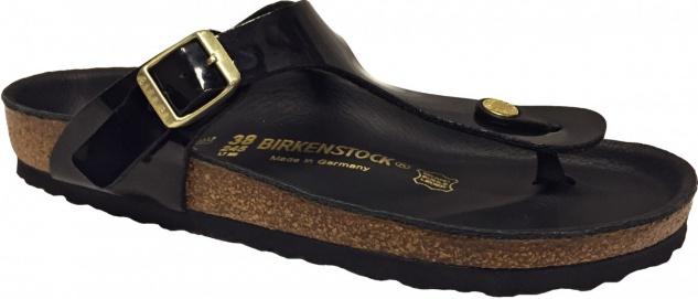 Birkenstock Zehensteg Sandale Gizeh Desert schwarz lack BF - Gr. 35 - 43 - 843471