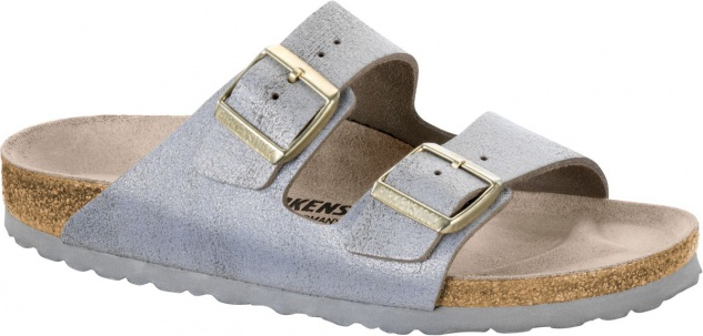 BIRKENSTOCK Pantolette Arizona washed metallic blue silver Gr. 35-43 1008796