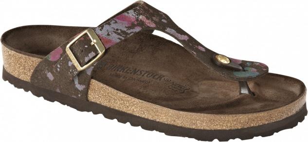 Birkenstock Exquisit Zehensteg Sandale Gizeh echt Leder flower crush mocca Gr. 35 - 43 745341